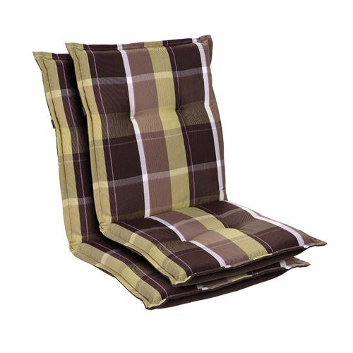 Coussin de chaise de jardin -Blumfeldt Prato -103 x 52 x8 cm -2 pièces -Carreaux Verts