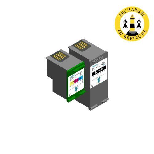 Pack HP 350351 XL Noir et couleurs compatible