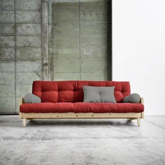 Canape 3 4 Places Convertible Indie Style Scandinave Futon Rouge