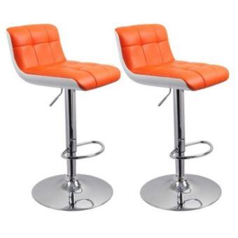 lot de 2 tabourets de bar orange simili et abs hauteur rglable helloshop26 1209128 achat prix fnac - Tabouret Bar Orange