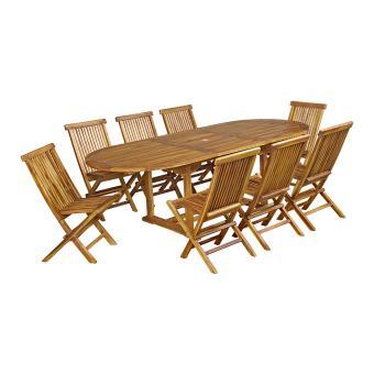 50% sur Salon de jardin Baya en teck huilé 8 chaises, grand modèle ...