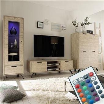 Nouvomeuble   Ensemble Meuble Tv Moderne Couleur Bois Clair Jace   Meuble  TV   Achat U0026 Prix   Fnac