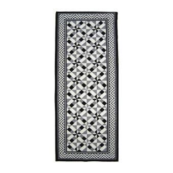 UTOPIA Tapis de couloir carreaux de ciment - Noir, gris et ...