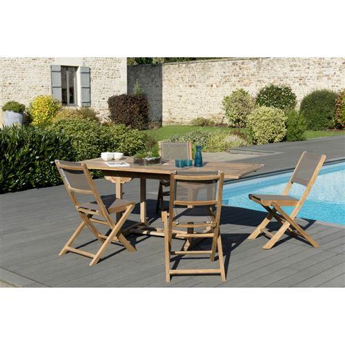 Salon de jardin bois teck grade A: 1 table rectangulaire ext 120/180*90cm et 2 lots de 2 chaises pliantes textilène taupe