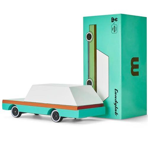 Petites voitures et mini modèles rétro classiques en bois Candylab Candycar Véhicules design pour enfants et adultes - Teal Wagon CND F240
