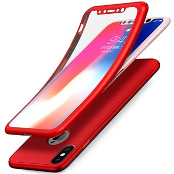 Coque Integrale Silicone Pour iPhone X iPhone 10 Couleur Rouge Verre Trempe Anti Choc 360 Full Protection