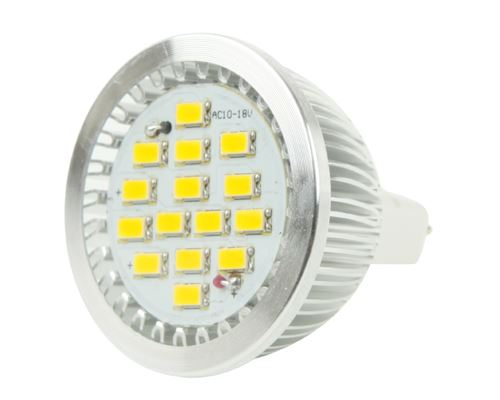 Eclairage LED Ampoules LED Ampoule de projecteur de projecteur de MR16 6W LED, 15 LED 5630 SMD, lumière blanche, CA 12V