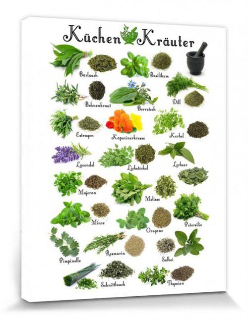 Cuisine Poster Reproduction Sur Toile, Tendue Sur Châssis - Herbes Aromatiques (50x40 cm)