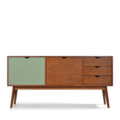 Buffet design 2 portes 3 tiroirs teinté noyer Ström - Couleur - Gris souris/Noyer