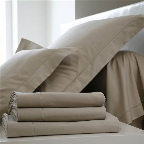 Taie d'oreiller Coton BLANC DES VOSGES - Ficelle - 65 x 65 cm