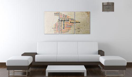 60x30 Tableau Cartes du monde Stylé Espagne: carte en couleurs nationales