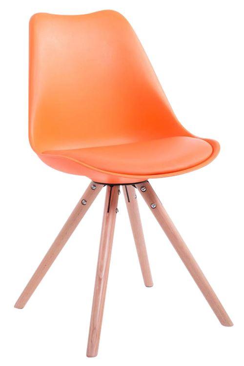 Chaise Toulouse similicuir piétement rond , Orange/Bois de chêne Nature