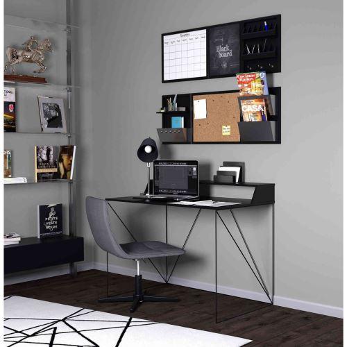 Bureau avec structure métallique noire et plateau en bois gris - BU4010