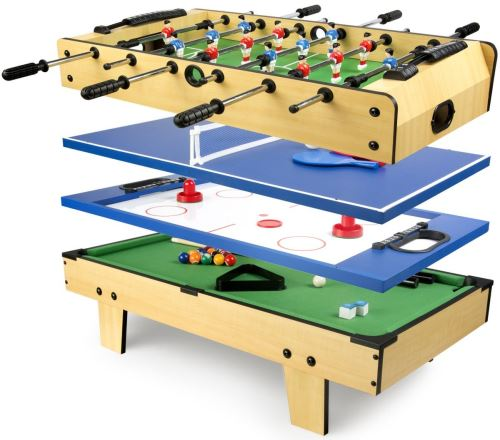 Table de jeu 4 en 1 Baby-foot, Billard Tennis de table, Hockey