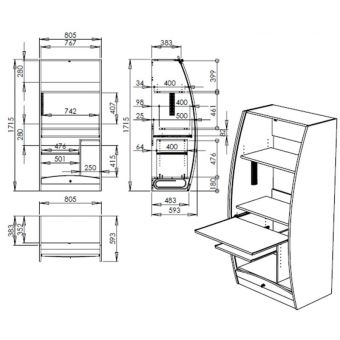Armoire Informatique Galbee Largeur 80 Cm Merisier Achat Prix Fnac