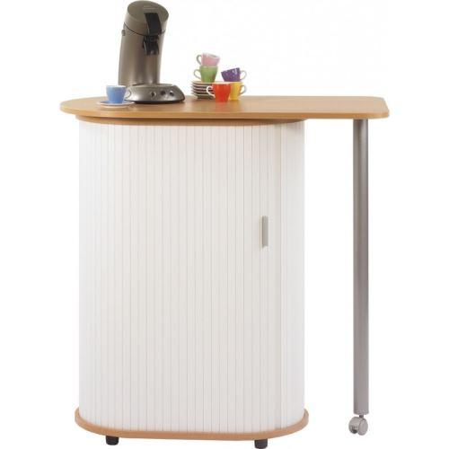 table pivotante et meuble de rangement de cuisine hêtre + rideau