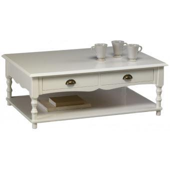 Table Basse Blanche Avec Tiroir.Table Basse Blanche 2 Tiroirs Charme