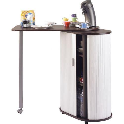 table pivotante et meuble de rangement de cuisine wengé + blanc