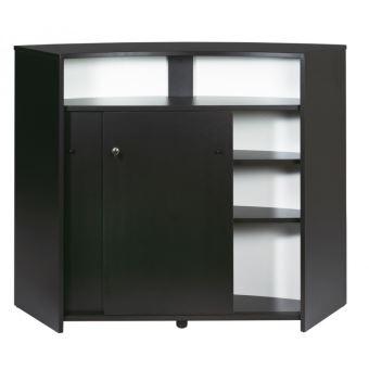 meuble bar comptoir daccueil 2 portes noir blanc achat prix fnac