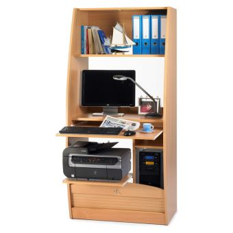 bureau informatique en bois avec rideau serrure paris h tre 80cm achat prix fnac. Black Bedroom Furniture Sets. Home Design Ideas