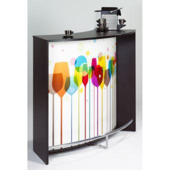 meuble bar comptoir de cuisine accueil noir verres achat prix fnac