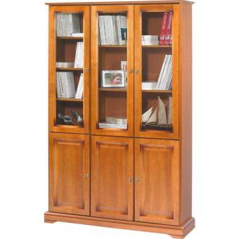meuble bibliothque merisier 6 portes vitres achat prix fnac