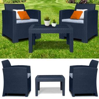 Salon de jardin DUO confort résine tressée - Mobilier de ...