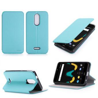 Etui Wiko Upulse LITE 4G turquoise luxe Ultra Slim Cuir Style avec stand - Housse Folio Flip Cover coque de protection smartphone Wiko U pulse Lite ...