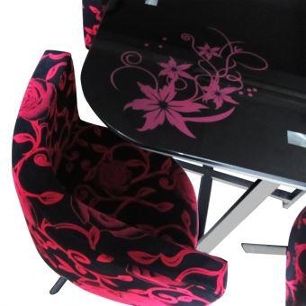 Table Et Chaises Mosaic 90 Fleurs Rouge Noir
