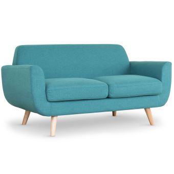 canap scandinave 2 places danube tissu bleu vert achat. Black Bedroom Furniture Sets. Home Design Ideas