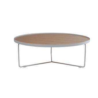 Table Basse Design Ronde Bois Naturel Et Metal Blanc 100cm Siska