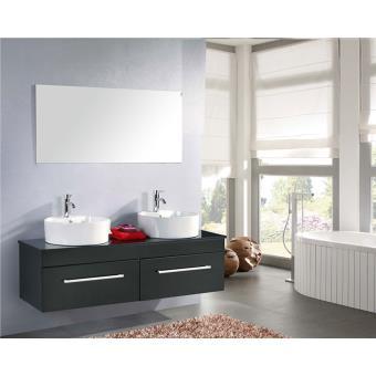 Meuble Salle de Bain Noir Robinetterie Inc Set Vasque 150 cm ...