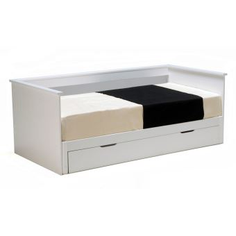 banquette lit extensible tiroir couchage 90x190cm en bois lisa laqu blanc sans matelas. Black Bedroom Furniture Sets. Home Design Ideas