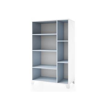 Meuble De Rangement Bibliothèque Avec Porte Blanc Et Bleu HxLcm - Bibliothèque avec porte
