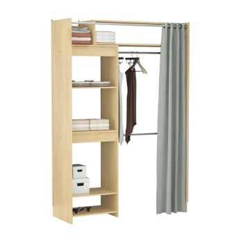dressing extensible en bois avec rideau l112 2 cm odeon achat prix fnac. Black Bedroom Furniture Sets. Home Design Ideas