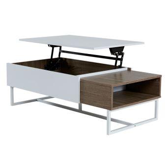 Table basse rectangulaire en bois avec plateau relevable blanc ch ne forest achat prix fnac - Table basse avec plateau relevable ...