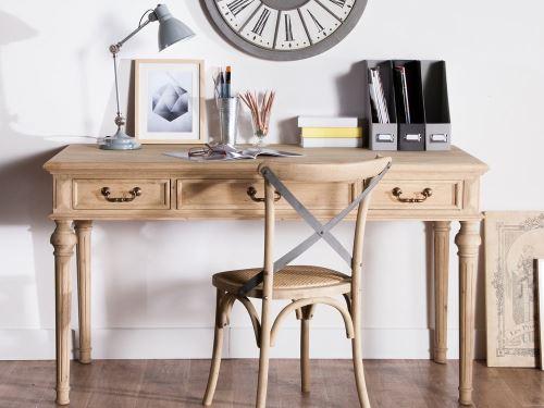 Bureau en chêne avec tiroirs longueur cm bastille achat