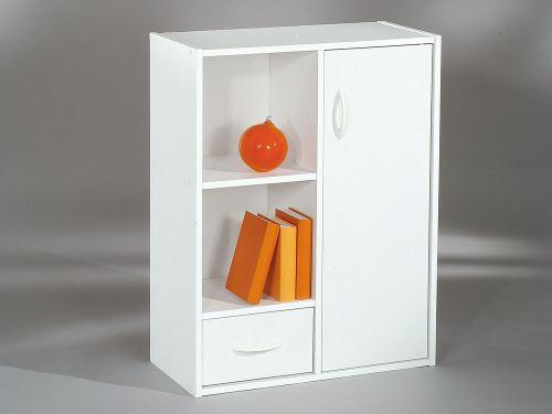 Etagère cube en bois H80cm L61.5cm 1 porte 1 tiroir 2 niches COMPO - Blanc