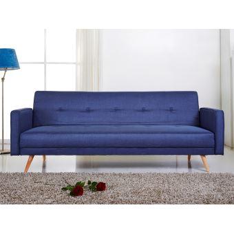 Canapé Clic Clac Tissu 2 Places Pieds Bois Design Lili Bleu