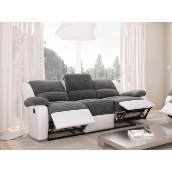 Canape Relaxation 3 Places Microfibre Grise Simili Cuir Blanc DETENTE