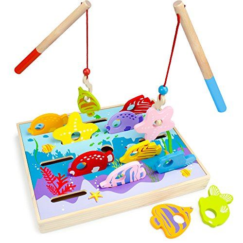 Wooden Wonders Lets Go Fishing Dexterity Game, Counting and Matching Skills by Imagination Generation