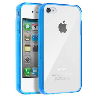 Coque iPhone 4 et 4S Protection Rigide Contour Bumper Souple Antichocs bleu