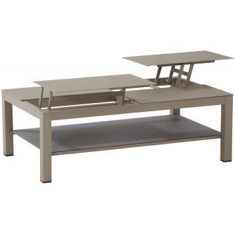 Table basse de jardin 120x72 cm coloris taupe - Mobilier de ...