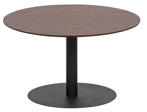 Table basse en bois et métal coloris noyer - H.35 x L.60 x P.60 cm -PEGANE-