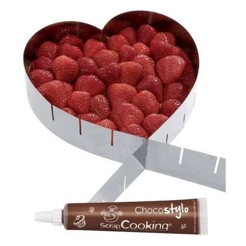 Cadre à pâtisserie extensible coeur + Stylo chocolat