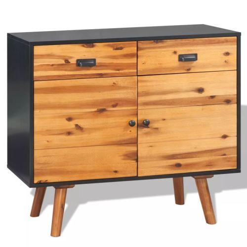 Meelady Buffet Bois d'Acacia Massif avec 2 Tiroirs et 2 Armoires Bonne Qualité Robuste et Durable Marron 90 x 33,5 x 83 cm