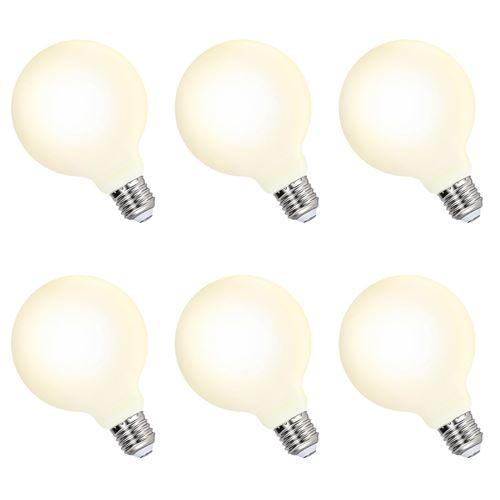 Grosse Lampe LED Edison Ampoule Globe G95 LED E27 6W 600Lm Blanc Chaud 3000K Éclairage Omnidirectionnel Remplace Ampoule Incandescente 60W Lot de 6 de Enuotek