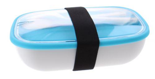 boîte à lunch My Bento avec des couverts 17,5 cm blanc / bleu