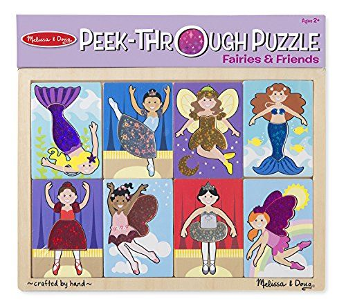 Melissa Doug Fairies and Friends Peek-Through Wooden Puzzle (8 pcs)
