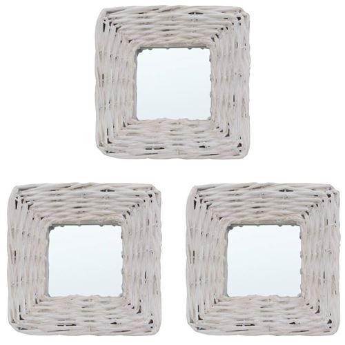 vidaXL Miroirs 3 pcs Blanc 15x15 cm Osier